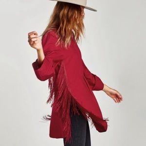 NWT Zara red fringe tassel tunic top